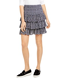 Petite Printed Tiered Skirt