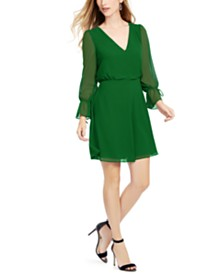 Vince Camuto Tie-Sleeve Chiffon Dress