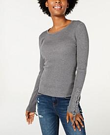 Juniors' Lace-Up Rib-Knit Sweater