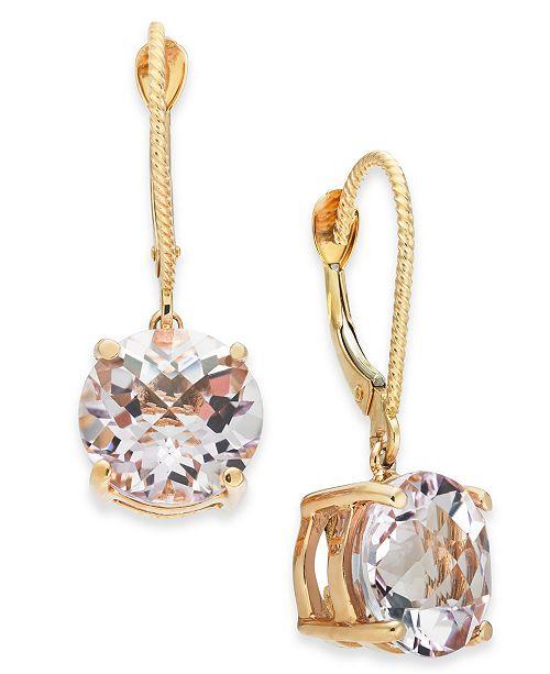 Macy's Pink Amethyst Drop Earrings (5-1/5 ct. t.w.) in 14k Rose Gold