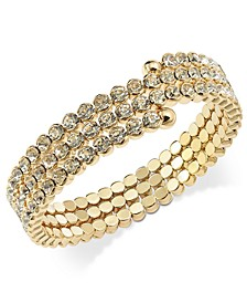 INC Gold-Tone Crystal Coil Bracelet, Created for Macy's
