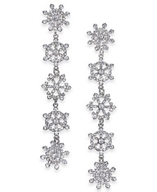 INC Silver-Tone Crystal Snowflake Linear Drop Earrings, Created for Macy's