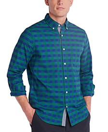 Men's Blue Sail Classic Fit Plaid Button-Down Shirt, Created for Macy's