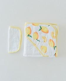 Lemon Cotton Hooded Towel Wash Cloth Set