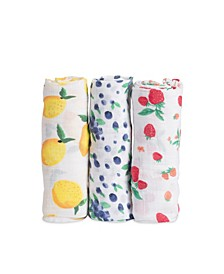 Berry Lemonade Cotton Muslin 3-Pack Swaddle Blanket Set