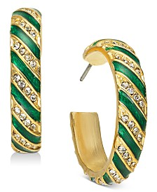 Holiday Lane Pavé Striped Hoop Earrings, Created for Macy's