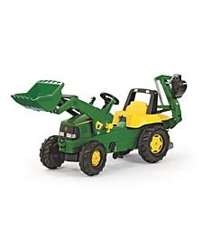 Toys John Deere Kid Backhoe Pedal Tractor with Front Loader