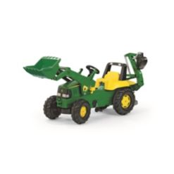 Rolly Toys John Deere Kid Backhoe Pedal Tractor with Front Loader
