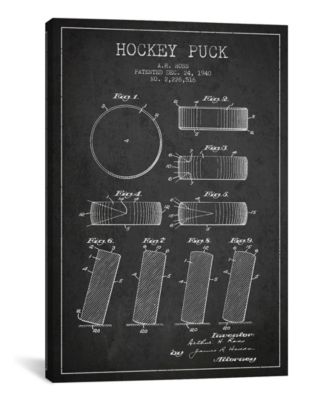 """Hockey Puck Charcoal Patent Blueprint by Aged Pixel Wrapped Canvas Print - 26"""" x 18"""""""