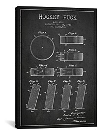Hockey Puck Charcoal Patent Blueprint by Aged Pixel Wrapped Canvas Print Collection