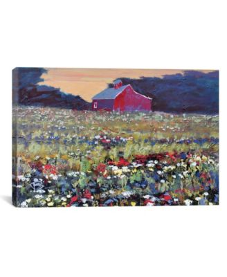 """Red Barn And Flowers by Kip Decker Wrapped Canvas Print - 26"""" x 40"""""""