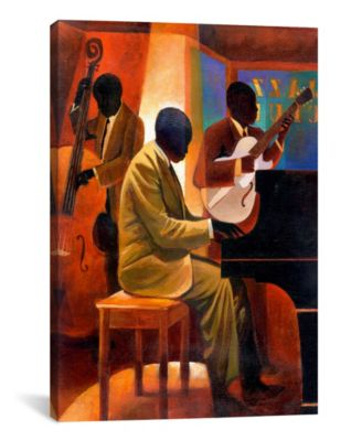 """Piano Man by Keith Mallett Wrapped Canvas Print - 26"""" x 18"""""""