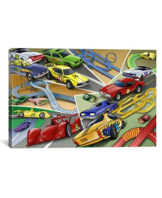 "Cartoon Racing Cars Children Art by Unknown Artist Wrapped Canvas Print - 18"" x 26"""