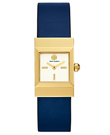 Tory Burch Women's Leigh Reversible Blue Leather Strap Watch 23mm