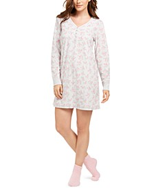 Cozy Fleece Waffle Knit Sleepshirt Nightgown & Socks Set, Created for Macy's