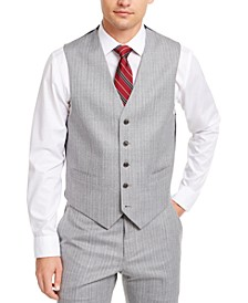 Men's Modern-Fit THFlex Stretch Gray/White Stripe Suit Separate Vest