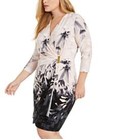 Calvin Klein Plus Size Floral-Print Wrap Dress