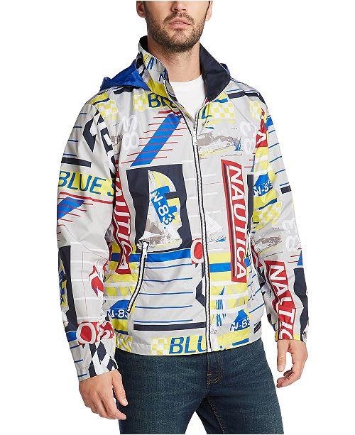 Nautica Men's Blue Sail Transom J-Class Logo Print Lightweight Jacket, Created for Macy's