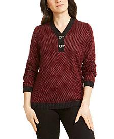 Karen Scott Petite Cotton Two-Tone Henley Sweater, Created For Macy's