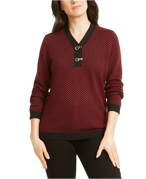 Karen Scott Petite Cotton Two-Tone Henley Sweater, Created For Macy's