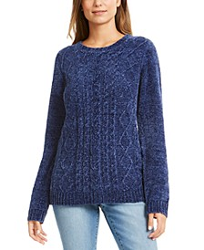 Petite Chenille Cable-Knit Sweater, Created For Macy's