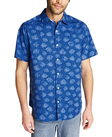 Men's Classic-Fit Blue Sail Fish Print Short Sleeve Shirt, Created for Macy's