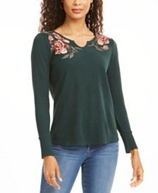 Style & Co Petite Embroidered Cotton Thermal Top, Created for Macy's