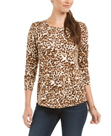 Style & Co Animal Print Top, Created for Macy's