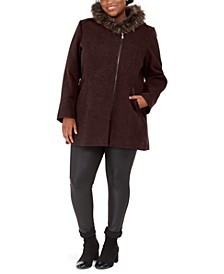 Juniors' Plus Size Asymmetrical-Zip Faux-Fur-Trim Hooded Coat