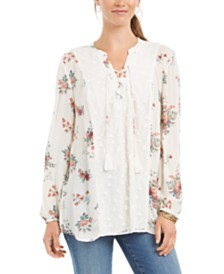 Style & Co Floral Lace-Up Top, Created for Macy's