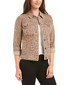 Leopard-Print Demin Jacket, Created for Macy's