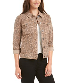 Style & Co Leopard-Print Demin Jacket, Created for Macy's