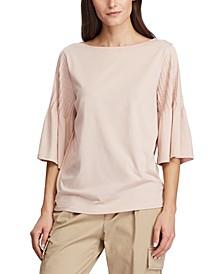 Pintuck-Sleeve Knit Cotton Top