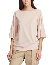 Lauren Ralph Lauren Pintuck-Sleeve Knit Cotton Top