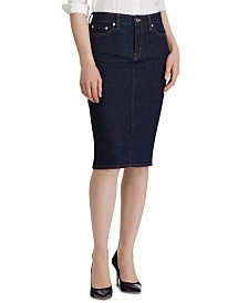 Lauren Ralph Lauren Straight-Cut Denim Skirt