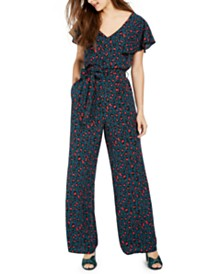 Crystal Doll Juniors' Animal-Print Jumpsuit