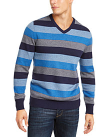 Club Room Men's Stripe V-Neck Sweater, Created for Macy's