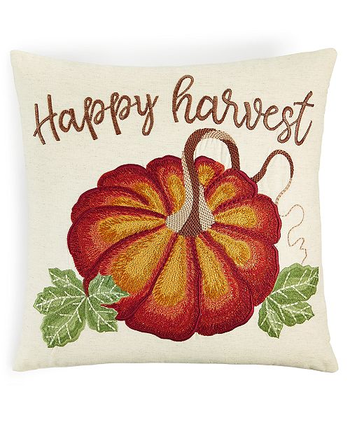 "Martha Stewart Collection Harvest Pumpkin 18"" x 18"" Decorative Pillow, Created for Macy's"