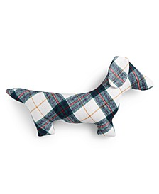 Plaid Dog Figural Decorative Pillow, Created for Macy's
