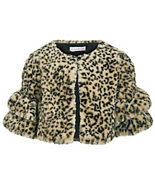 Little Girls Animal-Print Faux-Fur Jacket