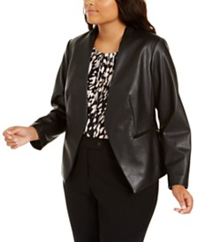 Calvin Klein Plus Size Open-Front Faux-Leather Jacket