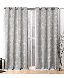 """Turion Floral Blackout Grommet Top Curtain Panel Pair, 52"""" X 96"""""""