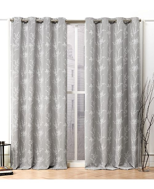 "Nicole Miller Turion Floral Blackout Grommet Top Curtain Panel Pair, 52"" X 96"""