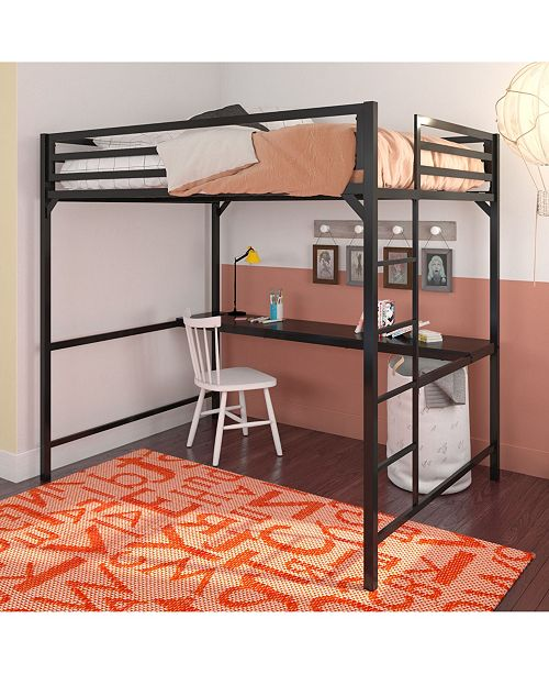 Mason Metal Full Loft Bed with Desk