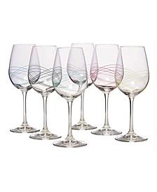 Glass Stemmed Wine Glasses, Set of 6