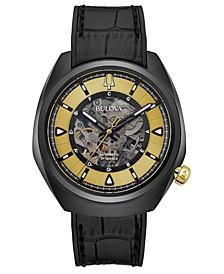 Men's Automatic Grammy Black Leather Strap Watch 44.5mm