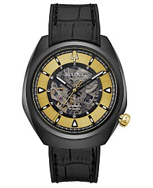 Bulova Men's Automatic Grammy Black Leather Strap Watch 44.5mm