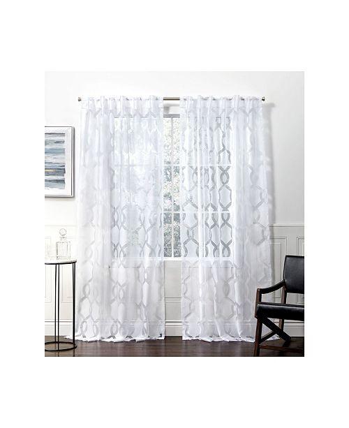 Curtains Rio Burnout Sheer Hidden Tab Top Curtain Panel Pair 54 X 108