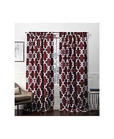 "Curtains Ironwork Sateen Woven Blackout Pinch Pleat Curtain Panel Pair, 27"" x 96"""