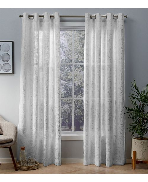 Curtains Woodland Printed Metallic Branch Sheer Textured Linen Grommet Top Curtain Panel Pair 54 X 108